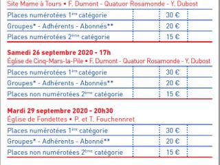 Réservations Automne 2020